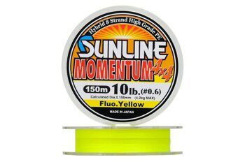 Плетеная леска Sunline Momentum 4x4 (8жил) Fluo Yellow #0,6